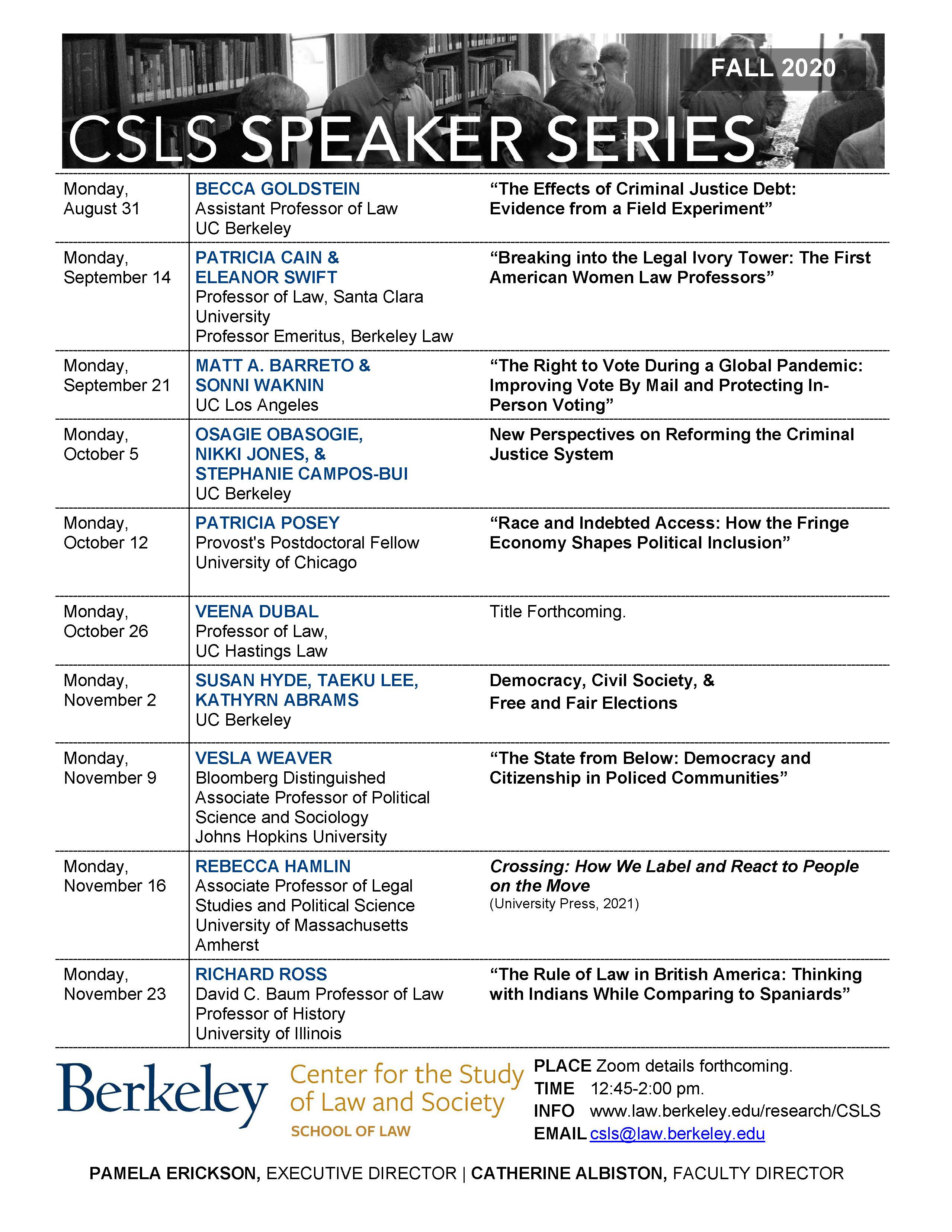 CSLS Speaker Series | Center for the Study of Law and Society